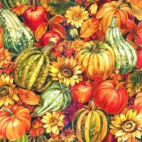Picture of Harvest Master Pumpkins Gourds Sunflowers Metallic Cotton Fabric
