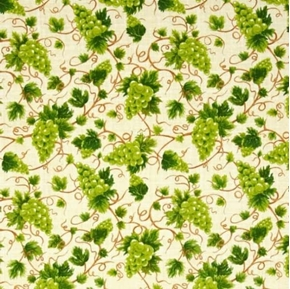 Picture of Fresh Harvest Grapes on Vines Green Grape on Cream Cotton Fabric