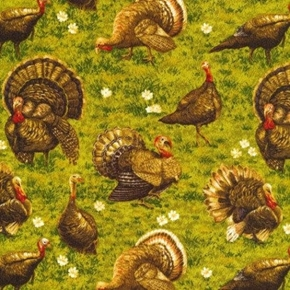 Golden Harvest Turkeys in the Grass Thanksgiving Cotton Fabric