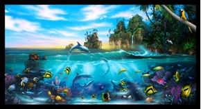 Paradise Found Dolphins Fish Tropical Ocean 24x44 Cotton Fabric Panel
