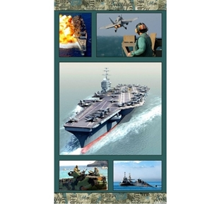 Picture of American Spirit Navy Anchors Away Military 24x44 Cotton Fabric Panel