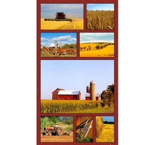 American Spirit On The Farm Tractors Horses 24x44 Cotton Fabric Panel