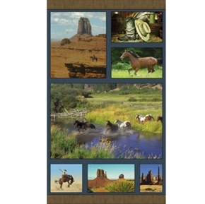 Picture of American Spirit Horse Country Southwestern 24x44 Cotton Fabric Panel