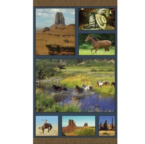 American Spirit Horse Country Southwestern 24x44 Cotton Fabric Panel