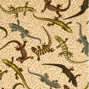 Tropic Rainforest III Leaping Lizards Lizard Cotton Fabric