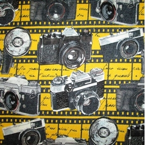 Thats Hollywood Vintage Cameras Film Paparazzi Yellow Cotton Fabric