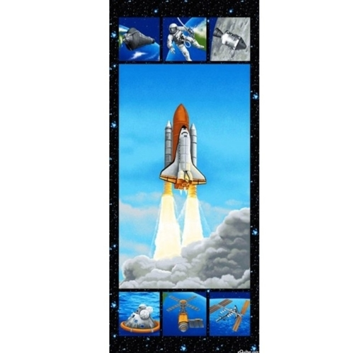 i want my space shuttle astronauts satellite 24x56 cotton fabric panel