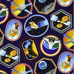 Picture of I Want My Space Shuttle Rockets Satellites Planets 18x29 Cotton Fabric