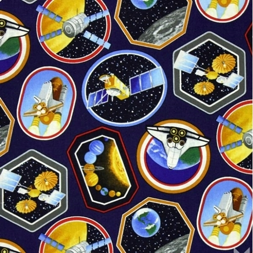 I Want My Space Shuttle Rockets Satellites Planets 18x29 Cotton Fabric