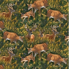 Wild Wings Feast in the Valley Deer in the Brush Cotton Fabric