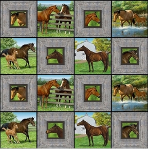 Wild Wings Summer Breeze Horses on the Farm Horse Blocks Cotton Fabric