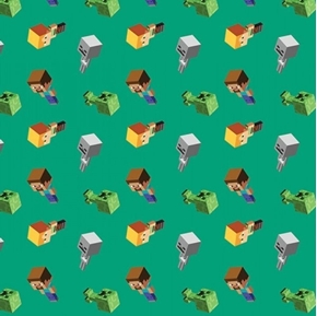Picture of Minecraft Day Mobs Video Game Mojang Green Cotton Fabric