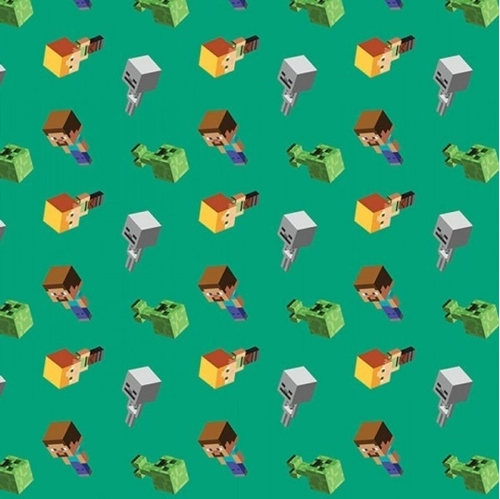 Minecraft Day Mobs Video Game Mojang Green Cotton Fabric