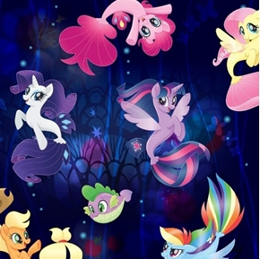 My Little Pony Far Away Adventures Dark Blue Cotton Fabric