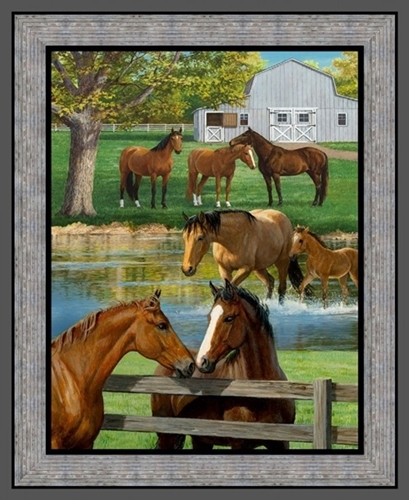 Wild Wings Summer Breeze Horses on the Farm Large Cotton Fabric Panel