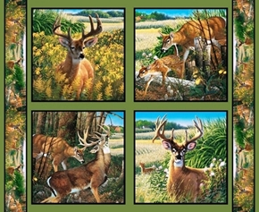 Wild Wings Feast in the Valley Deer Cotton Fabric Pillow Panel Set