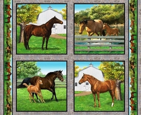 Wild Wings Summer Breeze Horse Farm Cotton Fabric Pillow Panel Set