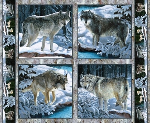 Picture of Wild Wings Silver Shadows Wolf Wolves Cotton Fabric Pillow Panel Set