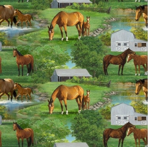 Wild Wings Summer Breeze Horse Scenic Horse on the Farm Cotton Fabric