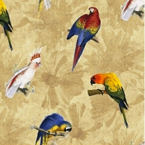 Picture of Rainforest Tropical Bird Parakeet Cockatiel Birds Tan Cotton Fabric