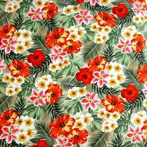 Picture of Rainforest Tropical Flowers Hibiscus Lilies Ferns Cotton Fabric