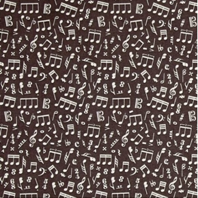 Picture of Type Band Music Notes and Symbols Musical Dark Brown Cotton Fabric