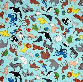 We Share One World Animals of the Earth Blue Cotton Fabric