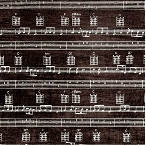 Type Band Music Score and Guitar Chords Dark Brown Cotton Fabric
