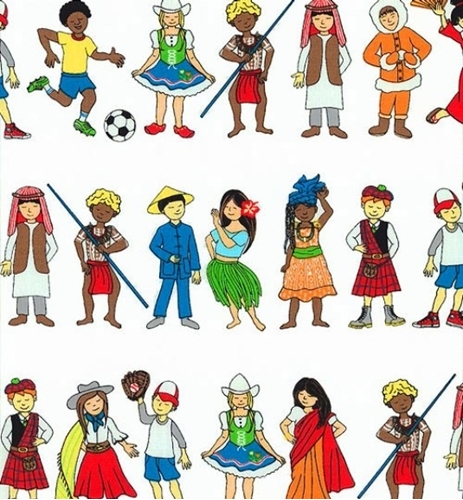 Picture of We Share One World Children From Every Culture in Rows Cotton Fabric