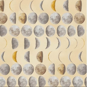 Galileo Lunar Phases Moon Waxing Waning Crescent Cotton Fabric