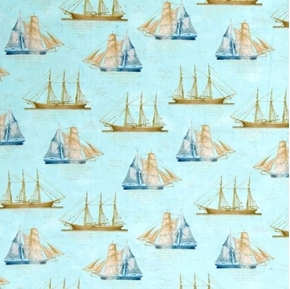 Picture of Tall Ships Sailing Ship Antique Boats Light Blue Cotton Fabric