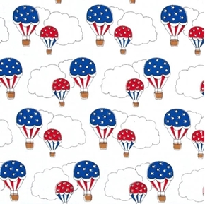Storybook Americana Patriotic Hot Air Balloons Clouds Cotton Fabric