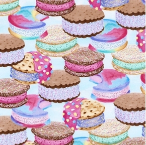 Ice Cream Sandwich Colorful Gourmet Treats on Blue Cotton Fabric