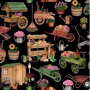A Gardening We Will Grow Gardening Carts and Sheds Black Cotton Fabric