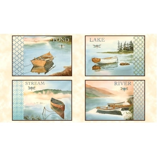 Picture of Tranquility Water Scenic Picture Patches 24x44 Cotton Fabric Panel