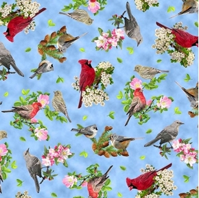 Songs of Nature Songbird Toss Cardinals Dogwood Blue Cotton Fabric