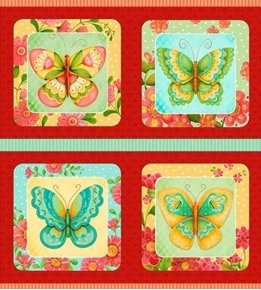 All A Flutter Butterfly Picture Patches Decorative 24x22 Cotton Fabric