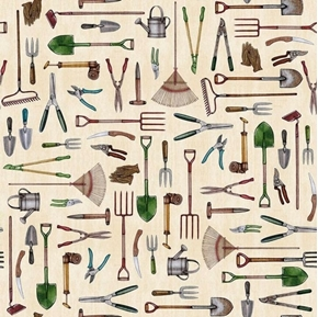 A Gardening We Will Grow Gardening Tools on Cream Cotton Fabric