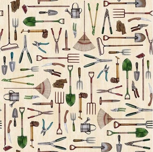 A Gardening We Will Grow Gardening Tools on Cream Cotton Fabric
