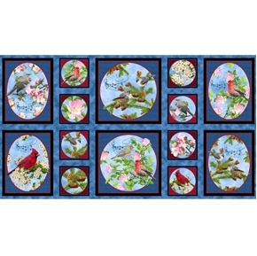 Songs of Nature Songbird Picture Patch 24x44 Cotton Fabric Panel