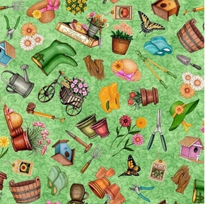 Picture of A Gardening We Will Grow Everything Gardening Green Cotton Fabric