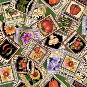 A Gardening We Will Grow Seed Packets Green Cotton Fabric