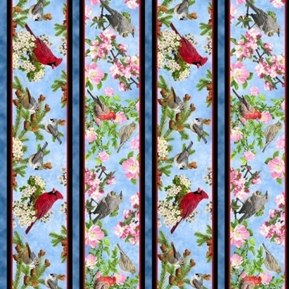 Picture of Songs of Nature Songbird Decorative Stripe Blue Cotton Fabric