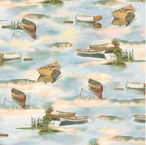 Picture of Tranquility Boats on Water Canoe Row Boat Lake Scene Cotton Fabric