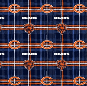 Picture of Flannel NFL Football Chicago Bears Plaid Cotton Fabric