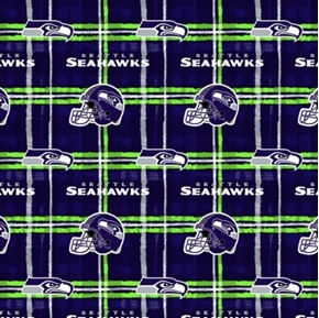 Picture of Flannel NFL Football Seattle Seahawks Plaid Cotton Fabric