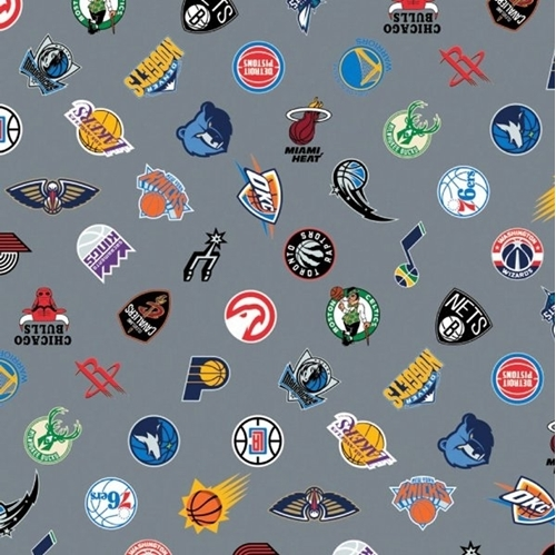 Picture of NBA Basketball Team Logos All Licensed Teams Grey Cotton Fabric