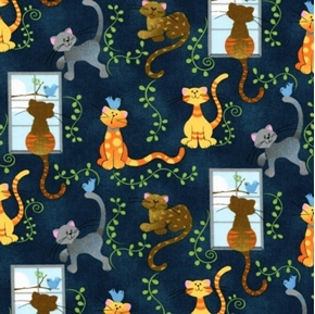 Picture of Cats and Birds Cute Kittens with Blue Birds Navy Cotton Fabric
