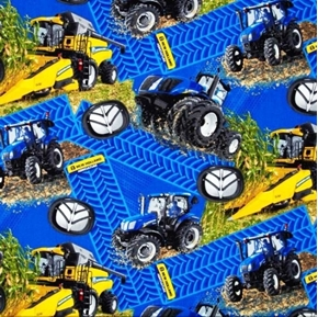 Picture of New Holland Tractors Combine Tire Tracks Farming Cotton Fabric