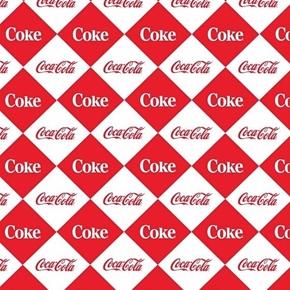 Picture of Coca-Cola Coke Red and White Diamonds Soda Logo Cotton Fabric